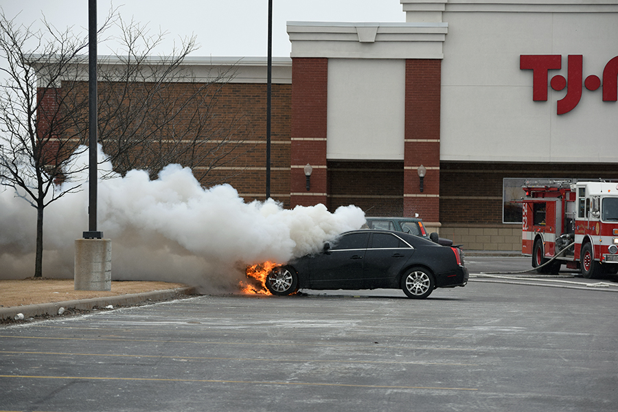 No injuries in car fire at Crossroads