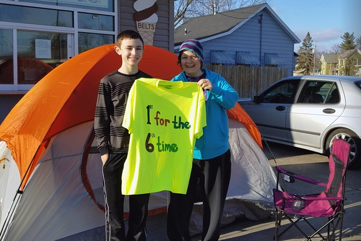 Grandmother, grandson first in line for six years running