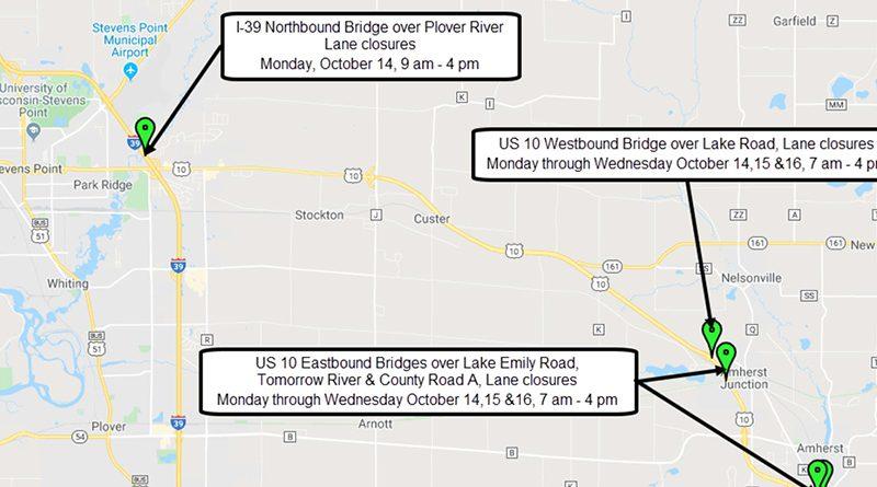 WisDOT to work on I-39, Hwy 10 bridges this week